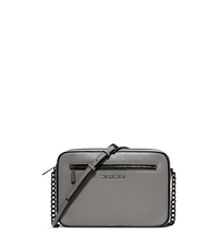 Jet Set Large Leather Crossbody - STEEL GREY/BLACK - 32F5TJIC3L