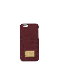 Saffiano Leather Pocket Smartphone Case - MERLOT - 32H4GELL3L