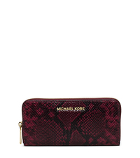 Jet Set Travel Embossed-Leather Continental Wallet - MERLOT - 32T5GTVE3N