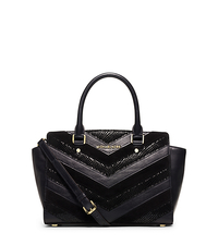 Selma Medium Suede and Leather Chevron Satchel - BLACK - 30H5GLMS2U