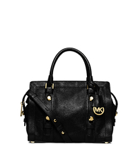 Collins Stud Medium Leather Satchel - BLACK - 30F5GCVS2L