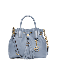 Camden Medium Leather Drawstring Satchel - PALE BLUE - 30F5GMDS2L