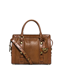 Collins Stud Medium Leather Satchel - WALNUT - 30F5GCVS2E