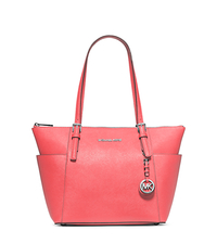 Jet Set Top-Zip Saffiano Leather Tote - CORAL - 30F2STTT8L