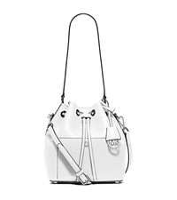 Greenwich Medium Saffiano Leather Bucket Bag - NAVY/WHITE - 30F5SGRM2U