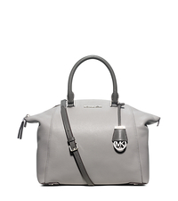 Riley Large Two-Tone Leather Satchel - PGREY/STGREY - 30F5SRLS3T