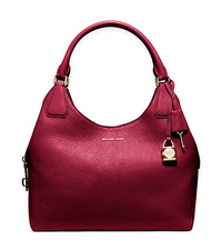 Camille Large Leather Shoulder Bag - CHERRY - 30H5GCAE3L