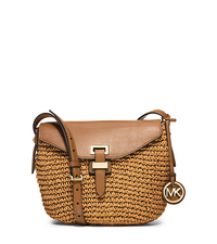 Naomi Medium Woven Straw Crossbody - PEANUT - 30H5GS2M2W