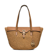 Naomi Large Woven Straw Tote - PEANUT - 30H5GS2T3W