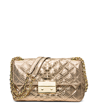 Sloan Large Metallic Embossed-Leather Crossbody - PALE GOLD - 30H5MSLL3K