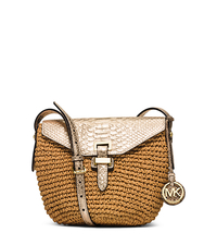 Naomi Medium Woven Straw Crossbody - PALE GOLD - 30H5MS2M2M