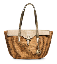 Naomi Large Woven Straw Tote - PALE GOLD - 30H5MS2T3M