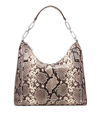 Matilda Large Embossed-Leather Shoulder Bag - NATURAL - 30H5SMTL3N