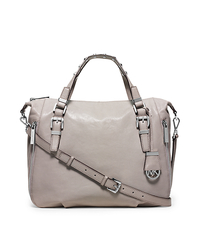 Essex Large Leather Studded Satchel - PEARL GREY - 30H5SXSS3L