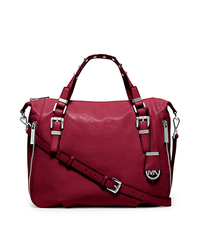 Essex Large Leather Studded Satchel - CHERRY - 30H5SXSS3L