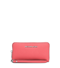 Jet Set Travel Large Saffiano Leather Smartphone Wristlet - CORAL - 32H4STVE9L