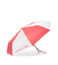 Color-Block Lucite-Handle Nylon Umbrella - CORAL/WHITE - 32H5SNYN5T