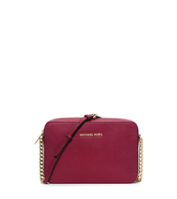Jet Set Large Saffiano Leather Crossbody - CHERRY - 32S4GTVC3L