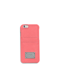 Saffiano Leather Pocket Smartphone Case - CORAL - 32S5SELL3L