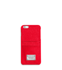 Saffiano Leather Pocket Smartphone Case - CORAL - 32T5SELL3L